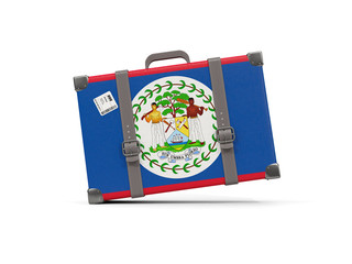 Luggage with flag of belize. Suitcase isolated on white