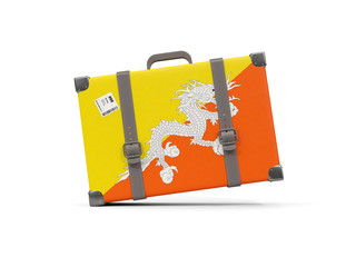 Luggage with flag of bhutan. Suitcase isolated on white