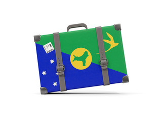 Luggage with flag of christmas island. Suitcase isolated on white
