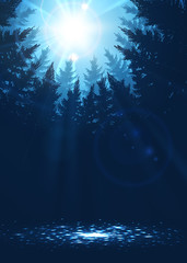 Forest background with sunbeams in blue colors, vector illustration