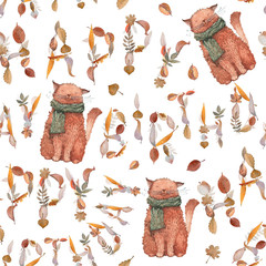 "A seamless pattern with watercolor illustrations. Letters ""Happy birthday"" and a funny ginger cat in a scarf. White background."