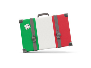Luggage with flag of italy. Suitcase isolated on white