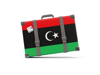 Luggage with flag of libya. Suitcase isolated on white