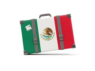 Luggage with flag of mexico. Suitcase isolated on white
