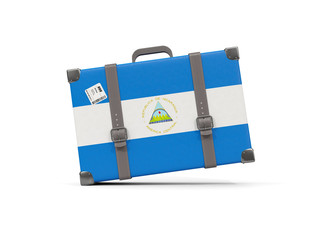 Luggage with flag of nicaragua. Suitcase isolated on white