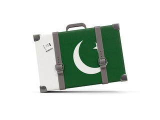 Luggage with flag of pakistan. Suitcase isolated on white