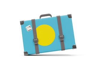 Luggage with flag of palau. Suitcase isolated on white