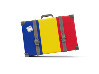 Luggage with flag of romania. Suitcase isolated on white