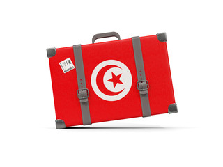 Luggage with flag of tunisia. Suitcase isolated on white