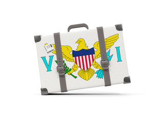 Luggage with flag of virgin islands us. Suitcase isolated on white