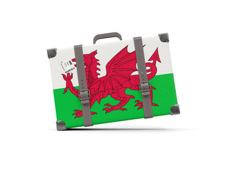 Luggage with flag of wales. Suitcase isolated on white