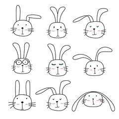 Hand Drawn Bunny Cute Characters Set.