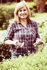 woman garden tool