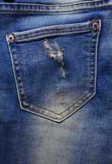jeans, pocket jeans with fading , the texture of vintage denim fabric, denim jeans