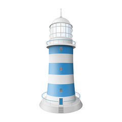 Realistic lighthouse. Illustration isolated on white background. Graphic concept for your design