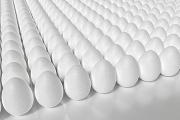 Many white eggs in array. 3D rendered illustration.