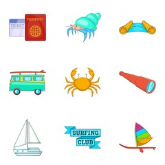 Space for surfing icons set, cartoon style