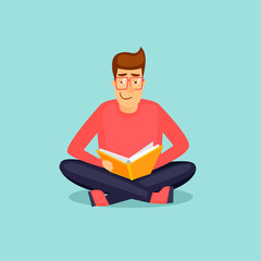 Guy is reading a book. Flat design vector illustration.