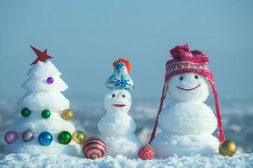Snow sculptures on blue sky background