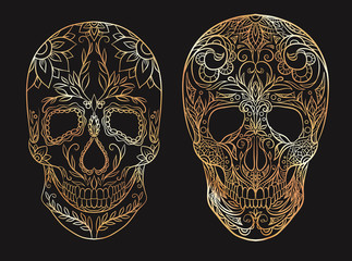 Set of contour gold illustrations of a sugar skulls. The holiday of the Day of the Dead. Vector element for your creativity