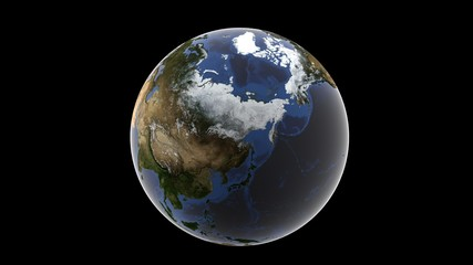 View of Asia and snow-covered Alaska, isolated globe of earth on a black background, 3d rendering, elements of this image furnished by NASA.