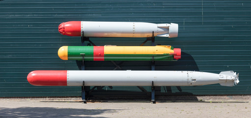 Torpedo of a Dutch submarine at open air museum in Den Helder, the Netherlands