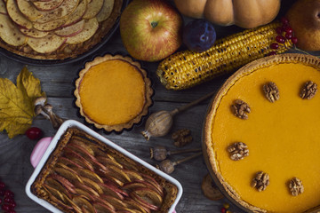 Autumn background. Homemade Pumpkin, apple Pies for Thanksgiving Ready to Eat. Design mock up