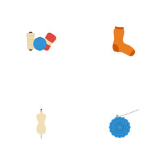 Flat Icons Knitted Socks, Knitting, Shop And Other Vector Elements. Set Of Handmade Flat Icons Symbols Also Includes Socks, Mannequin, Shop Objects.