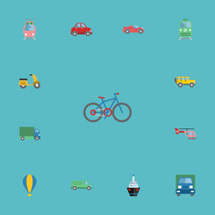 Flat Icons Scooter, Bicycle, Lorry And Other Vector Elements. Set Of Vehicle Flat Icons Symbols Also Includes Vehicle, Auto, Moped Objects.