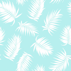 Royal palm tree branch leaves white silhouette outline on bright light blue sky background. Exotic tropical rainforest jungle botanical garden plants. Seamless vector pattern texture.