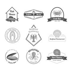Cartoon Silhouette Black Seafood Badges or Labels Set. Vector
