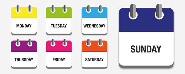 Kalender 7er Set Wochentage englisch bunt