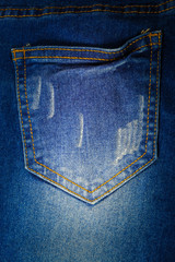 Jeans background, Denim torn texture.