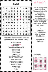 Ballet themed zigzag word search puzzle (suitable both for kids and adults). Answer included.