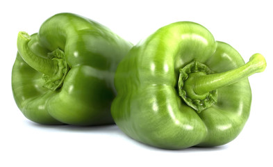 Green Bulgarian pepper isolated on white background