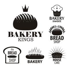 Bakery logotypes set. Bakery vintage black and white design elements