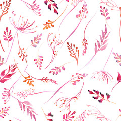 Romantic watercolor pink branch and flowers collection seamless pattern