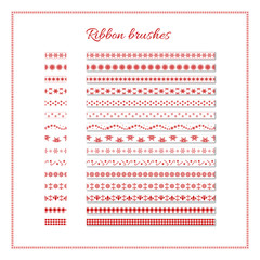 New Year ribbon brushes. Set of red and white decorative ribbons. Vector Christmas or New Year design element.