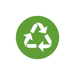 White recycle icon on green circle illustration.