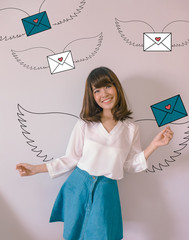 Young Asian business woman with mails or letter illustrator doodles - Digital Email Communication concept
