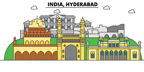 Hyderabad, India, Hinduism. City skyline, architecture, buildings, streets, silhouette, landscape, panorama, landmarks. Editable strokes. Flat design line vector illustration concept. Isolated icons Fototapete