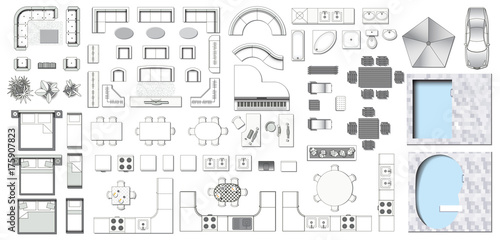 Set Top View For Interior Icon Design Elements For Living