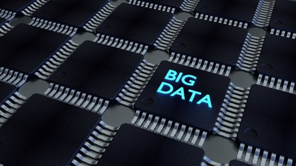 Glowing blue word big data on a cpu in a black chip network