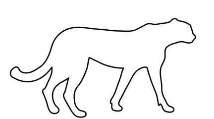 Vector silhouette of tiger logo on white background.