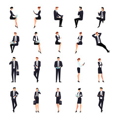 Set of businessmen in a flat style isolated on a white background.