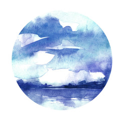 Watercolor blue background. Sky, water, reflection in water, horizon line, silhouette of trees. Country landscape. Abstract background, splash of paint. Watercolor round spot, logo