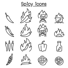 Chili & Spicy icon set in thin line style