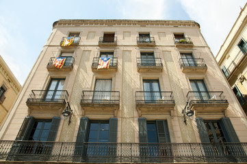 Catalonian Flags on Balconies - Barcelona - Spain