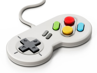 Vintage cable gamepad isolated on white background