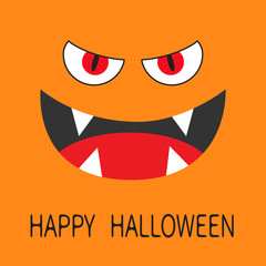 Evil Red eyes. Smiling wicked mouth with fangs tooth, tongue. Angry cartoon character head face. Happy Halloween. Greeting card. Flat design. Orange background.